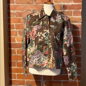 Women's petite large floral blazer